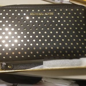 Brand New MK black wallet with gold